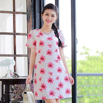 Đầm Form Suông Hoa Anh Đào