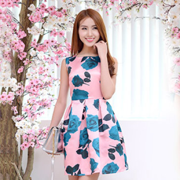 Đầm Phi Lụa Hoa Hồng Romance