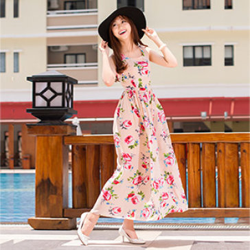 Đầm Maxi Hoa Hồng Cao Cấp-BST Hè