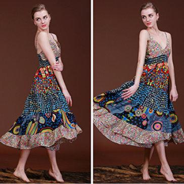 Đầm Maxi Hai Dây Họa Tiết