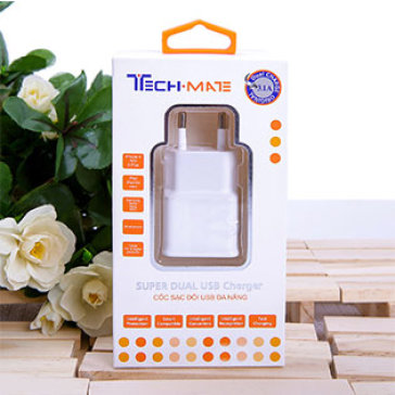 Cốc Sạc Đôi USB Techmate Dùng Cho iPad/ iPhone/ Tablet/ Smartphone