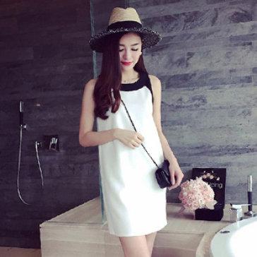 Đầm Form Suông Phối Màu Korea Style