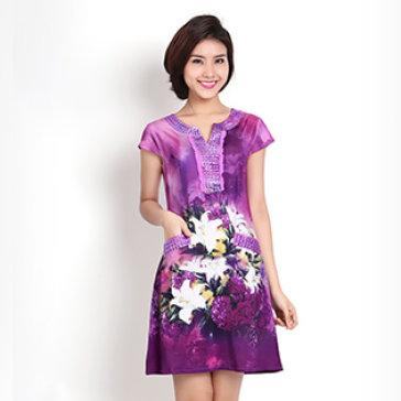 Đầm Hoa Sơn Dầu Form Suông Sang Trọng