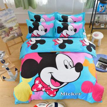 Bộ Drap  Kèm Mền Cotton Lụa Cao Cấp Họa Tiết Chuột Mickey