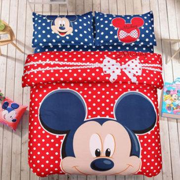 Bộ Drap + Mền Cotton Lụa Họa Tiết Mickey Nền Đỏ