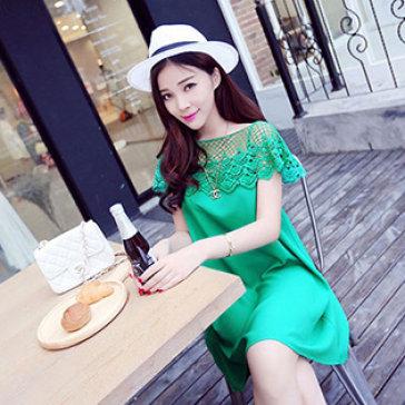 Đầm Voan Xòe Phối Ren Hoa Nữ Tính