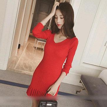 Đầm Len Cổ Tim Đuôi Cá Phong Cách Hàn Quốc
