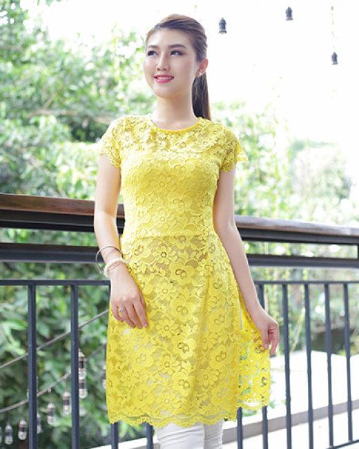 Kết quả hình ảnh cho áo dài cách tân màu vàng