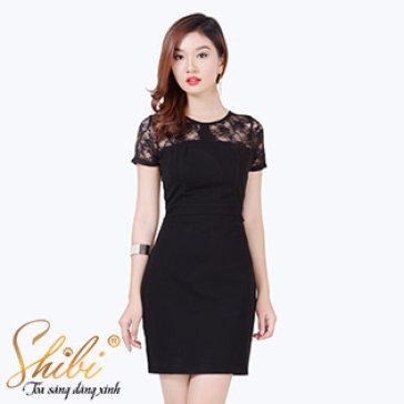 Đầm Công Sở Phối Ren Shibi SB025