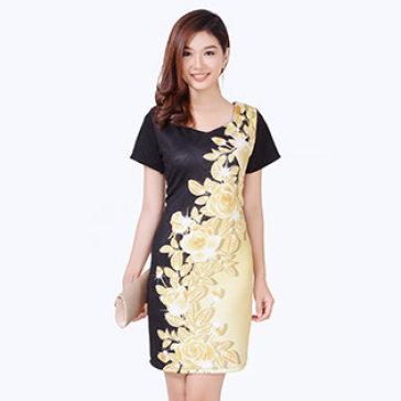 Đầm In 3D Ánh Vàng Cao Cấp