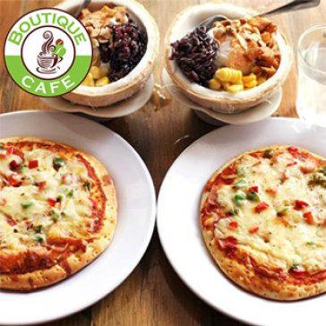 Combo 2 Pizza hải sản xúc xích + 2 kem xôi dừa (hoặc 2 kem bơ Đà Lạt) hấp dẫn nhất Sài Gòn tại Boutique Café.