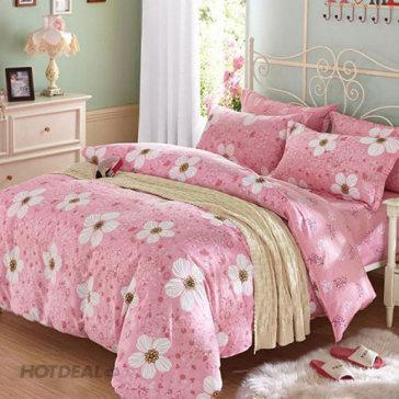 Bộ Drap + Mền Họa Tiết Hoa Lá 100% Cotton