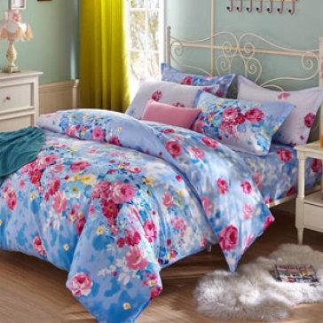 Bộ Drap + Mền Họa Tiết Hoa Mẫu Mới 100% Cotton