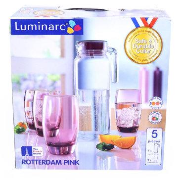 Bộ Bình Ly Thủy Tinh Luminarc 5 Món Rotterdam Ice Pink